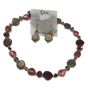 Devi Rustic Ruby Red Necklace and Earring Set