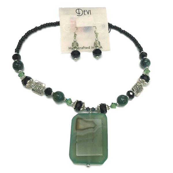 Devi Jade Rectangle Pendant Necklace and Earring Set