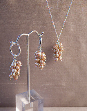 Gold Pearl Cluster Set