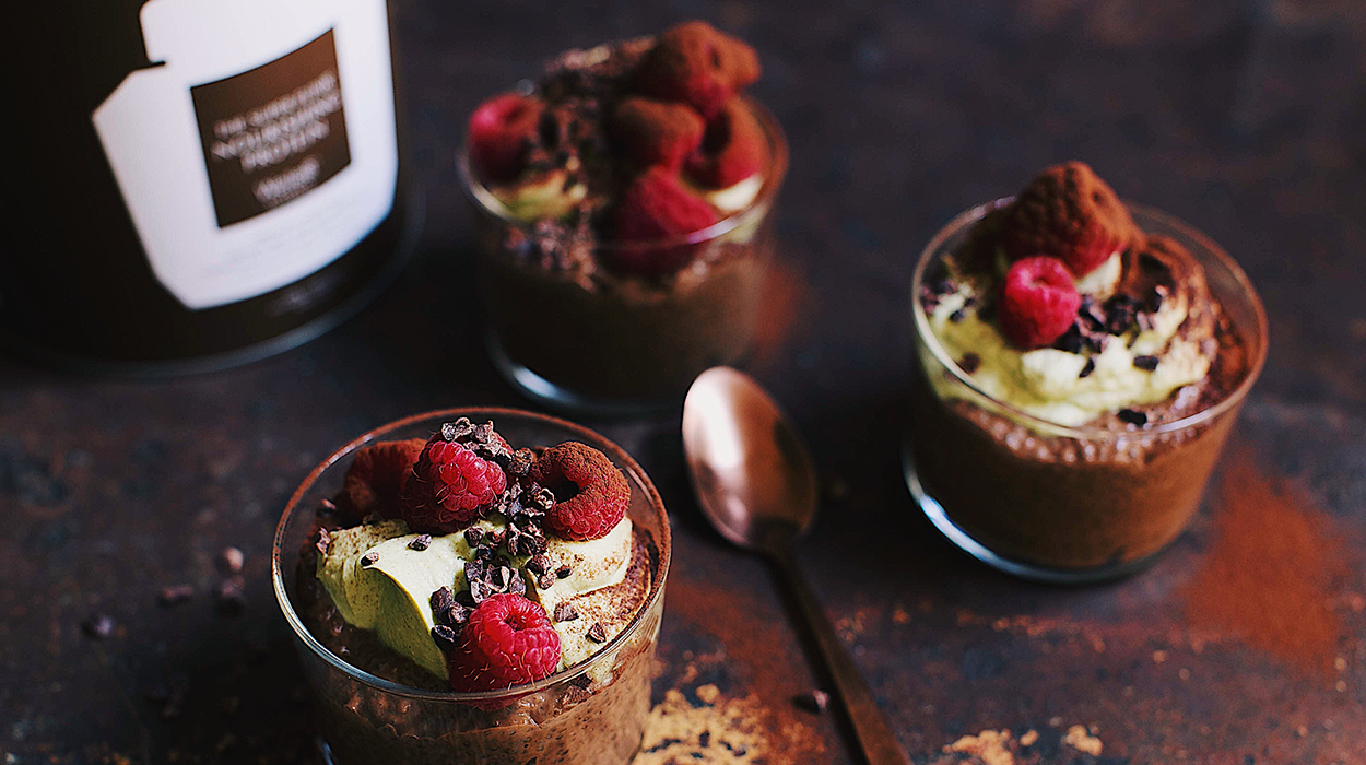 Chocolate Chia Puddings with Matcha Coconut Yoghurt