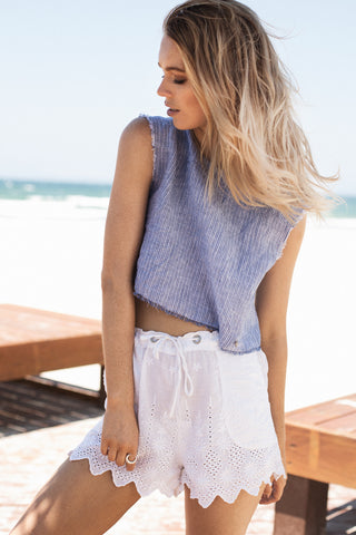 Frayed Crop Top in Blue Stripe