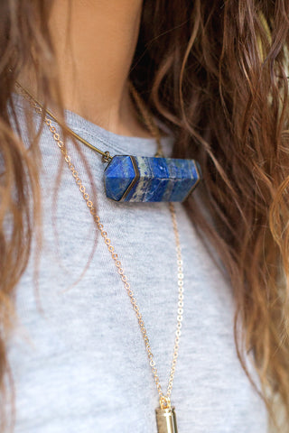 Brass Choker with Lapis Crystal
