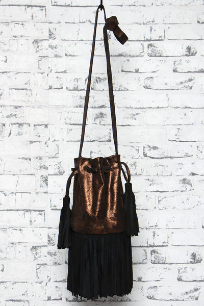 Essaouira Drawstring Leather Bag in Bronze