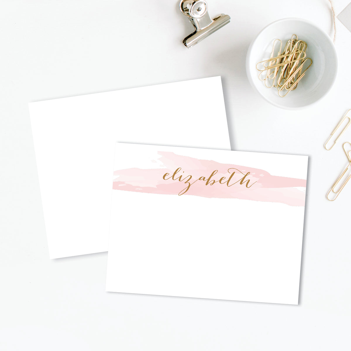 Dramatic Script Flat Personalized Stationery Correspondence Card Damask Stationery DEPOSIT Monogram Thank You Note Mint and Navy