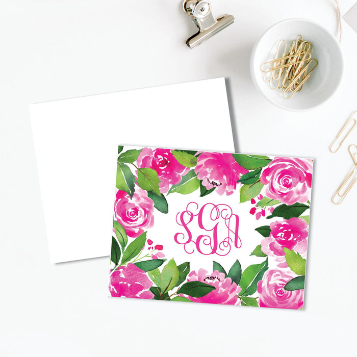 Peony Monogrammed Folded Note Card, set of 25