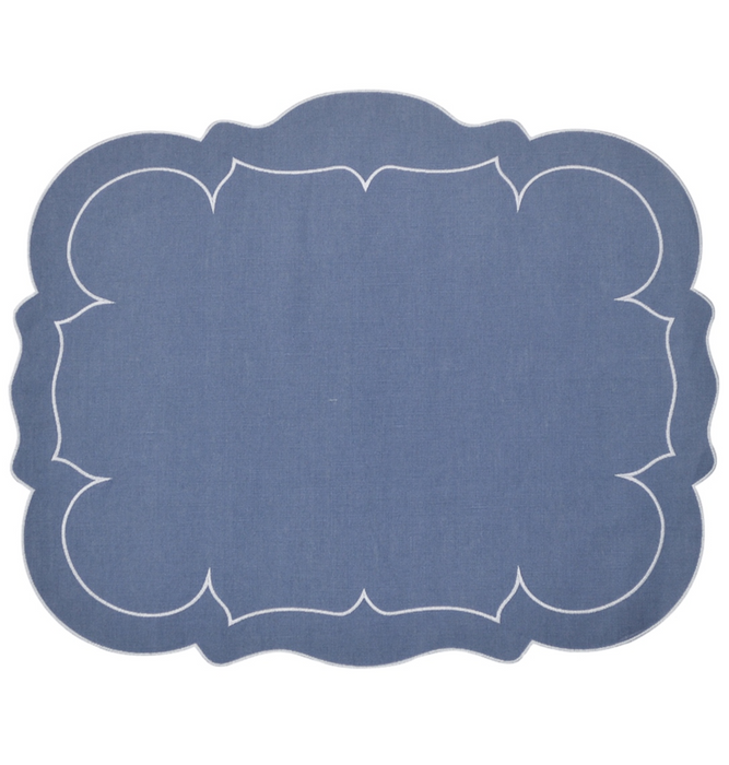 Monogrammed Placemat, Blue & White, Set of 8