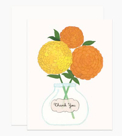 Greeting Card, Thank You Zinnias
