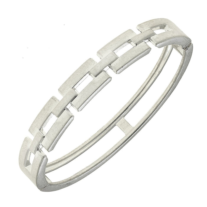 Quinn Chain Link Bangle, Worn Silver