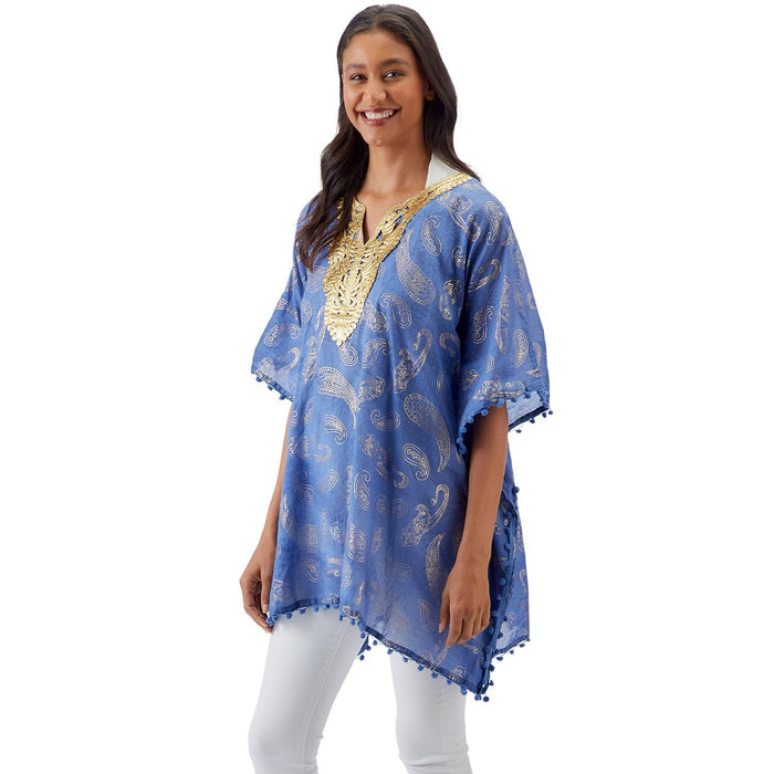 Metallic Kaftan with Pom Poms