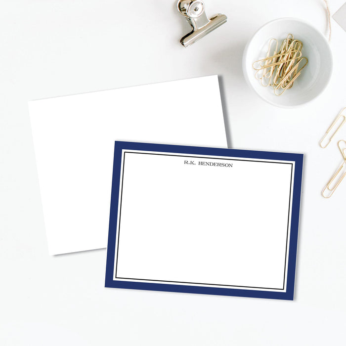 Timeless Border Navy Flat Notes, Set of 25
