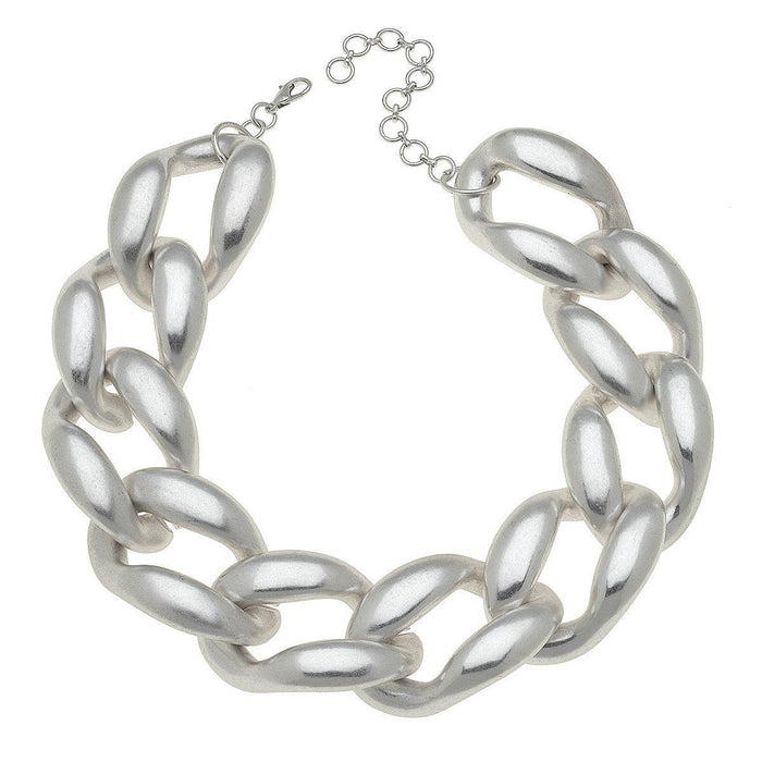 Statement Necklace in Worn Silver