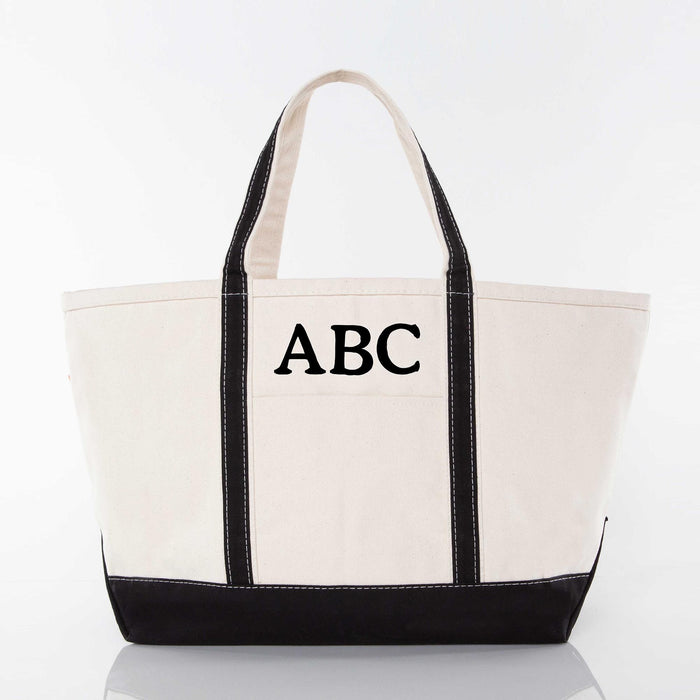 Large Boat Tote, Black & Canvas
