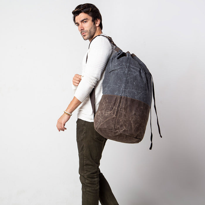 Waxed Canvas Laundry Duffel, Slate