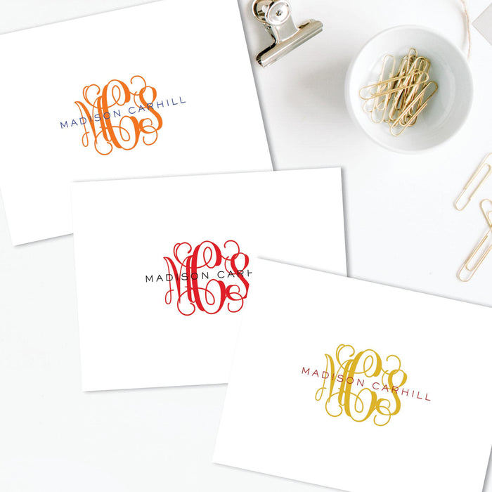 Monogrammed Folded Note Card, set of 25
