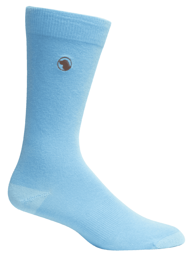 Blue Solid Mens Socks