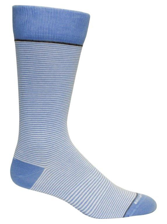 Blue & White Stripe Mens Socks