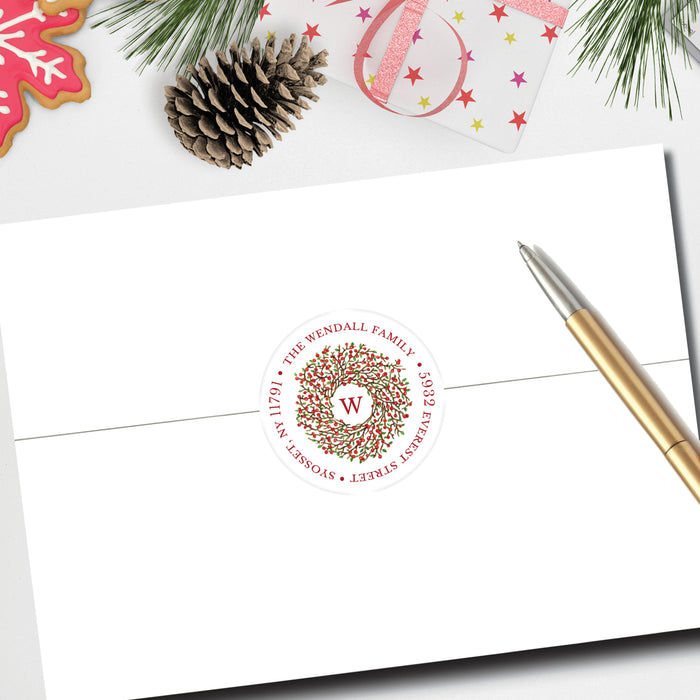Christmas Round Return Address Label, Berry Wreath