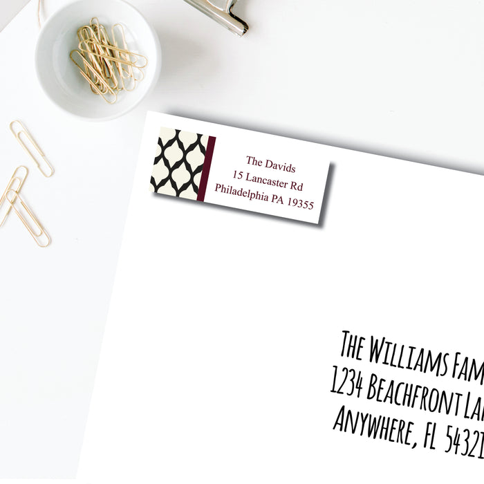 Return Address Label, Bordeaux Lattice