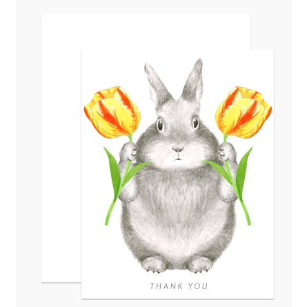 Greeting Card, Bunny with Tulips