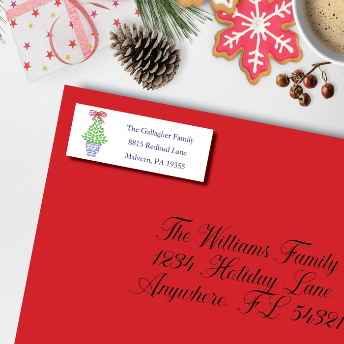 Christmas Return Address Label, Christmas Topiary