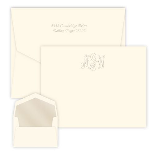 Classic Embossed Monogram Flat Note