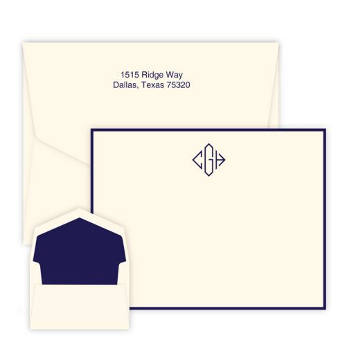 Diamond Monogram Raised Ink Flat Note