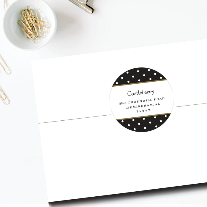 Round Return Address Label, Black & White Dots