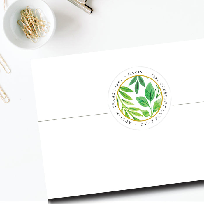 Round Return Address Label, Foliage of Love