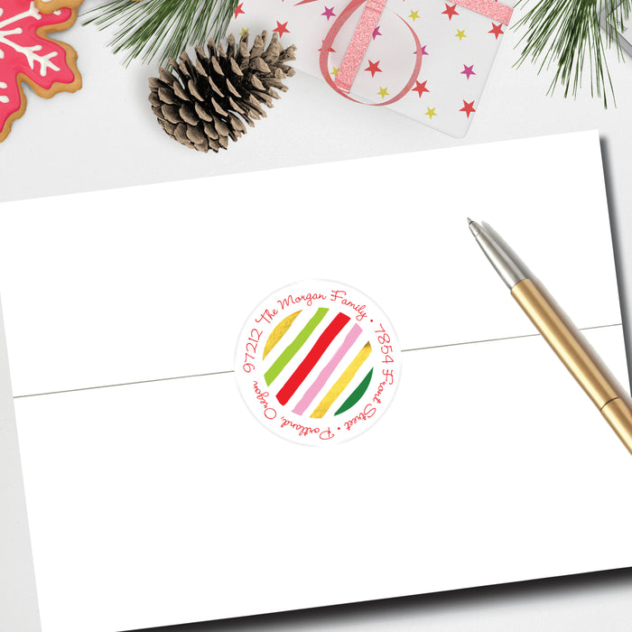 Christmas Round Return Address Label, Fun Stripes