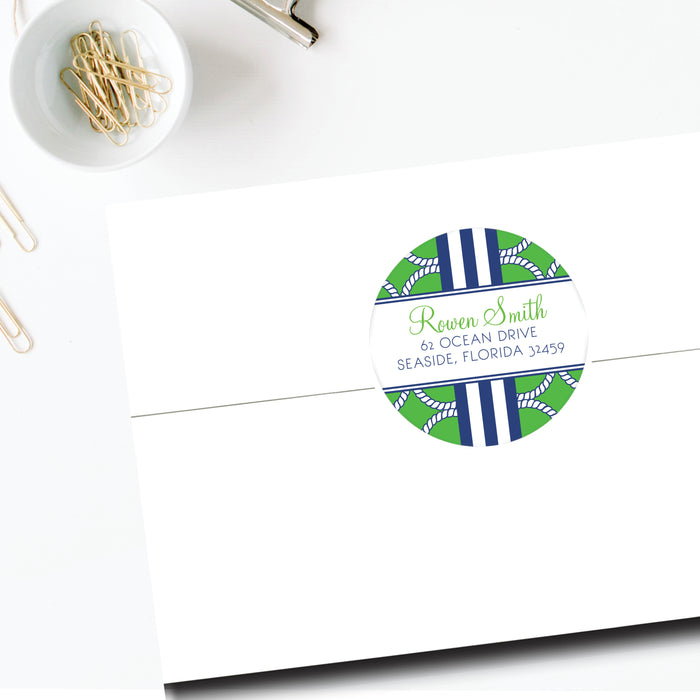 Round Return Address Label, Green Nautical