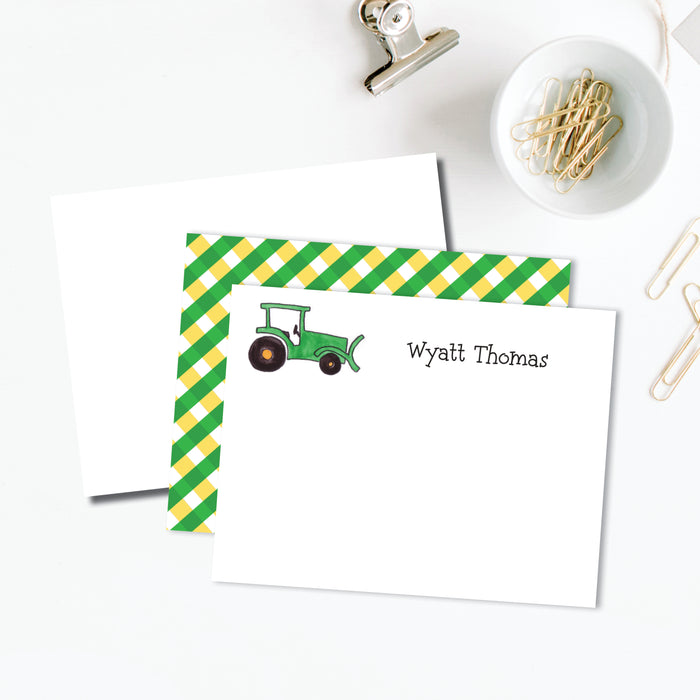 Green Tractor Flat Note, Set of 25