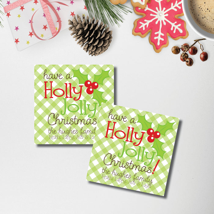 Christmas Gift Sticker, Holly Jolly