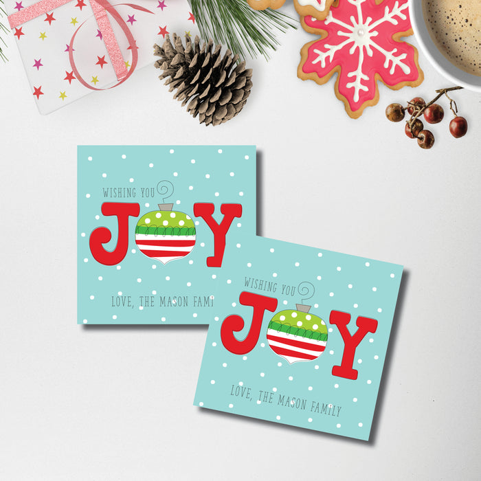 Christmas Enclosure Card/Gift Tag, Joy Ornament