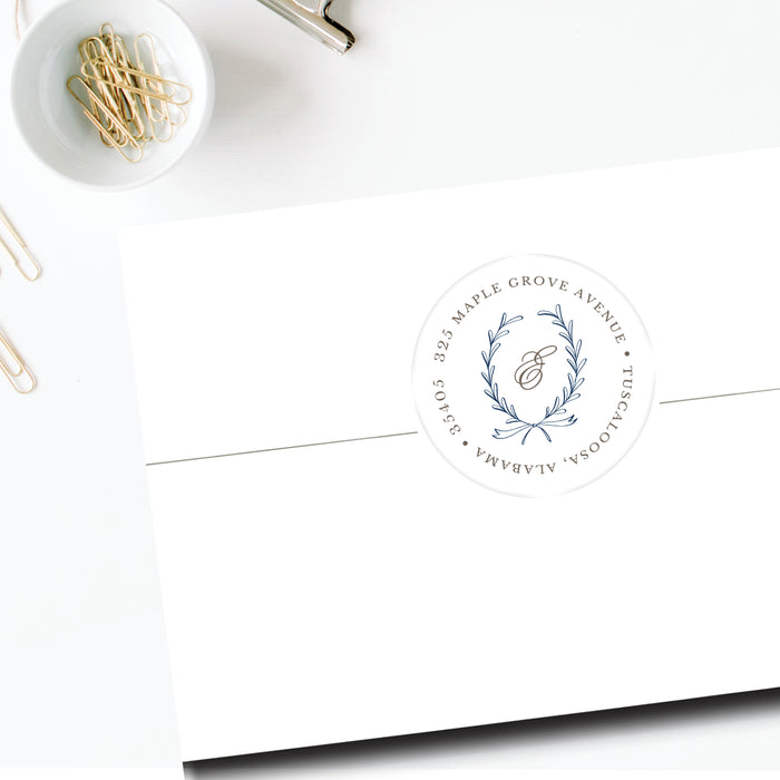 Round Return Address Label, Laurel Wreath Navy