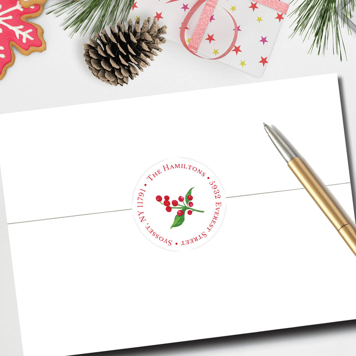 Christmas Round Return Address Label, Merriment Vines