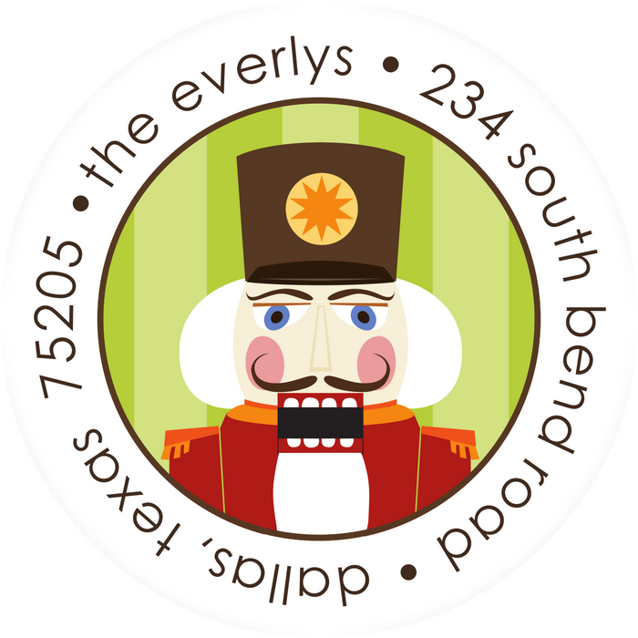 Christmas Round Return Address Label, Mr. Nutcracker