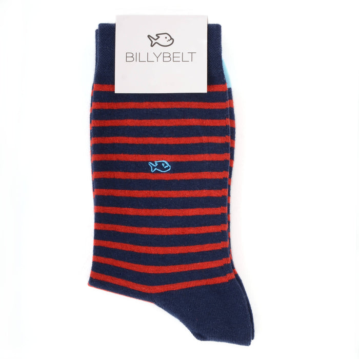 Navy & Red Wide Fancy Stripe Socks