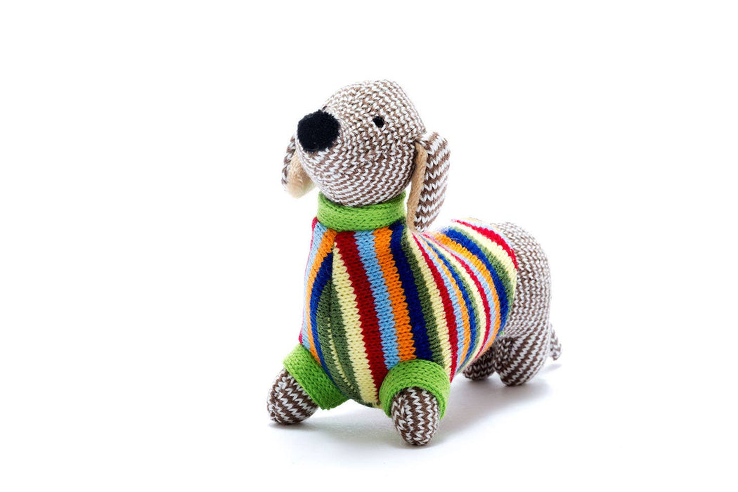 Knitted Rattle, Sausage Dog