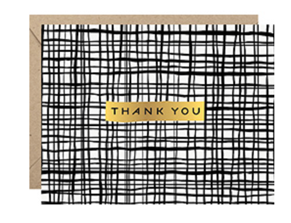 Greeting Card, Black Crossed Lines Thank You