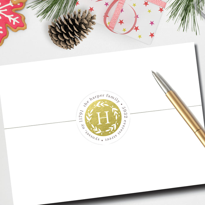 Christmas Round Return Address Label, Shimmering Christmas