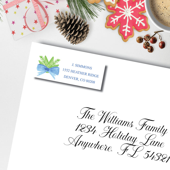 Christmas Return Address Label, Tie a Blue Ribbon