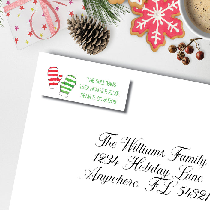 Christmas Return Address Label, Warm Woolen Mittens