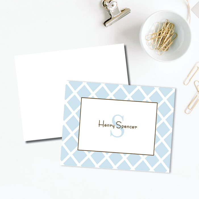 White Trellis on Blue Folded Notes, Set of 25