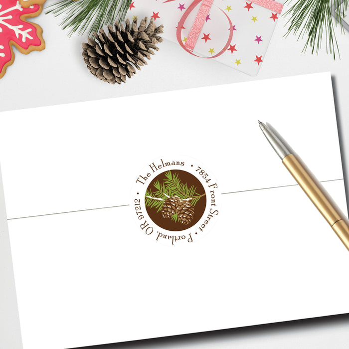 Christmas Round Return Address Label, Woodsy Pine