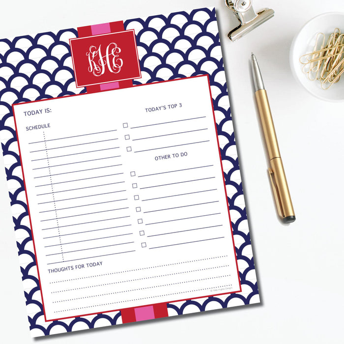 Daily Planner Pad, Navy Shells