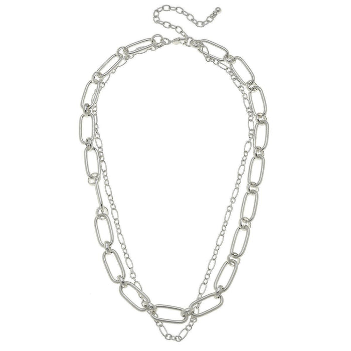 Layered Chain Necklace, Worn Silver