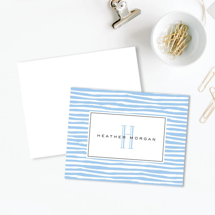 Modern Lines Blue Folded Notes, Set of 25