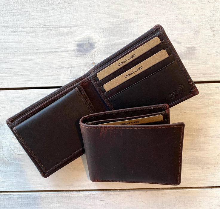 Leather Billfold, Distressed Leather RFID