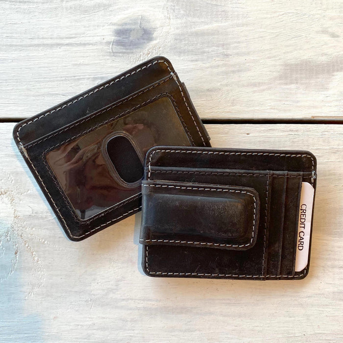 Black Leather Folding Money Clip Credit Card Case, RFID