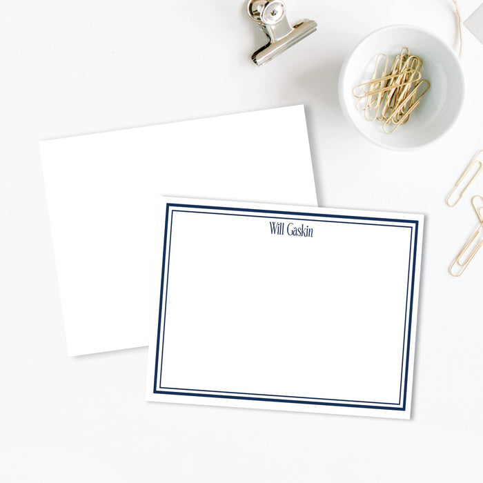 Simple Navy Border Flat Notes, Set of 25